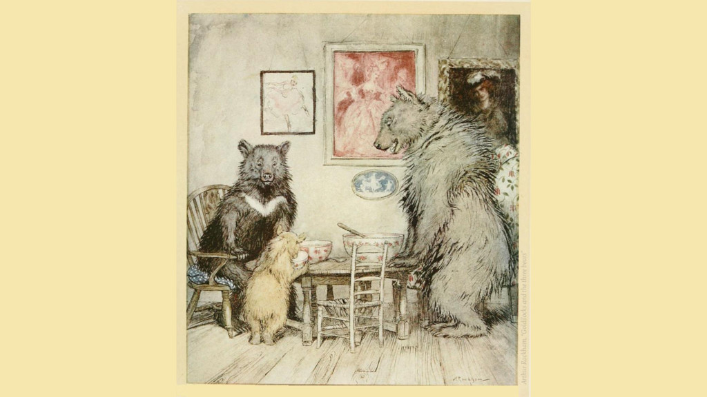 "Arthur Rackham, ""Goldilocks and the three bears"""