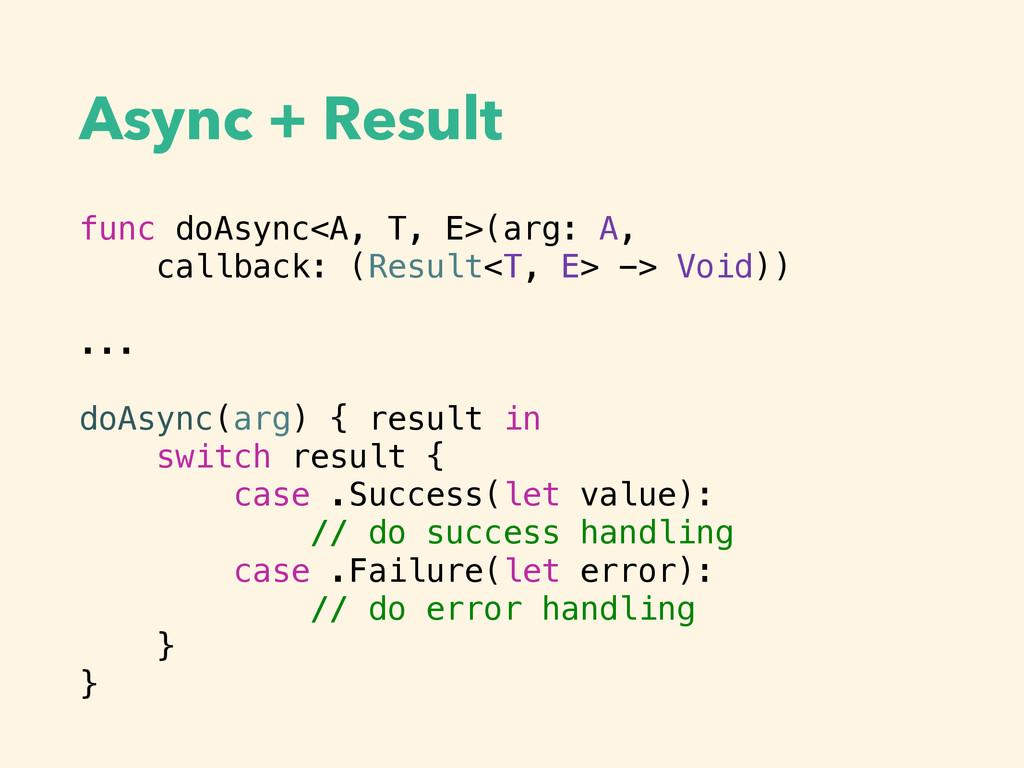 Async + Result func doAsync<A, T, E>(arg: A, ca...