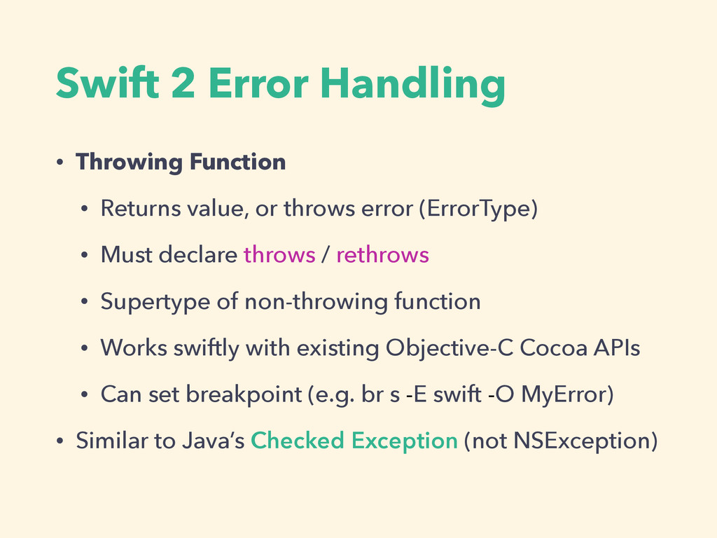 Swift 2 Error Handling • Throwing Function • Re...