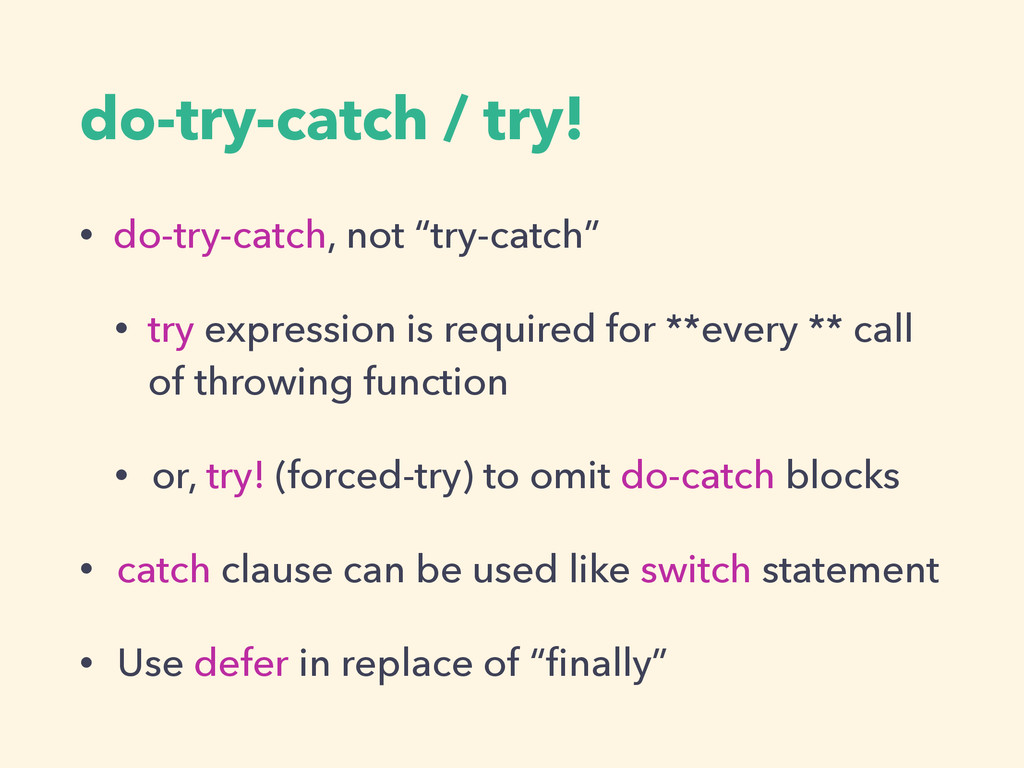 "do-try-catch / try! • do-try-catch, not ""try-ca..."