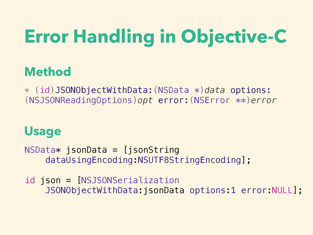 Error Handling in Objective-C + (id)JSONObjectW...