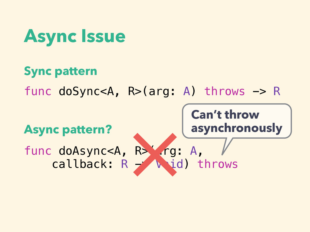 Async Issue func doSync<A, R>(arg: A) throws ->...
