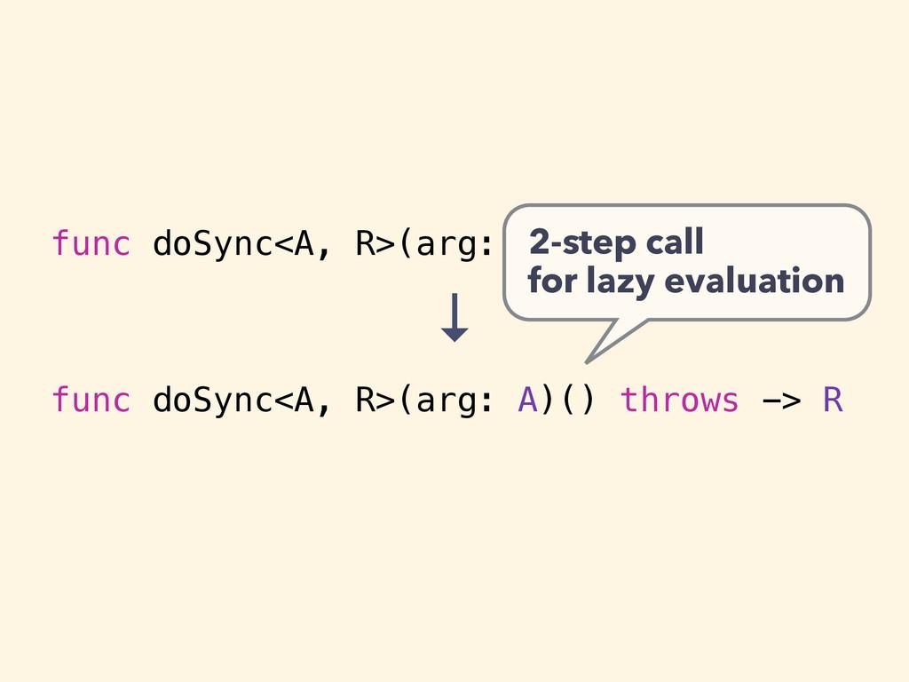 func doSync<A, R>(arg: A) throws -> R func doSy...