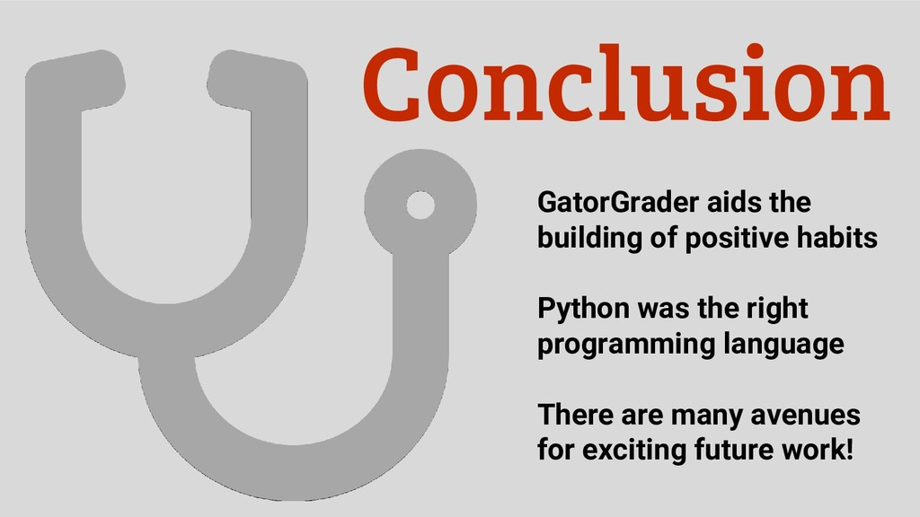 Conclusion GatorGrader aids the building of pos...