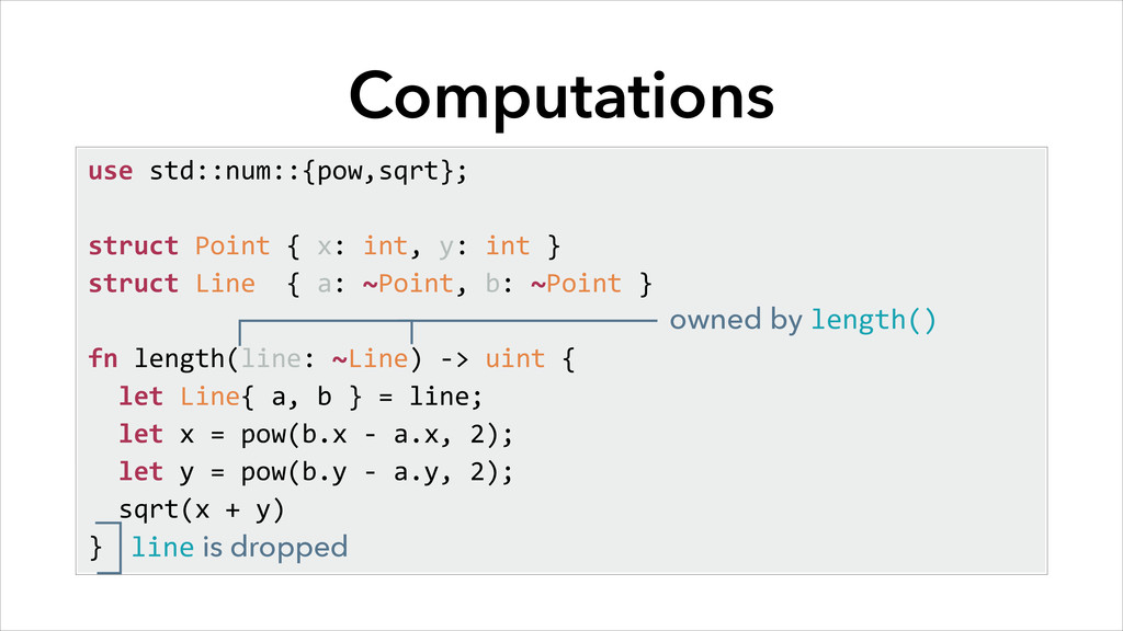 Computations use std::num::{pow,sqrt};  st...