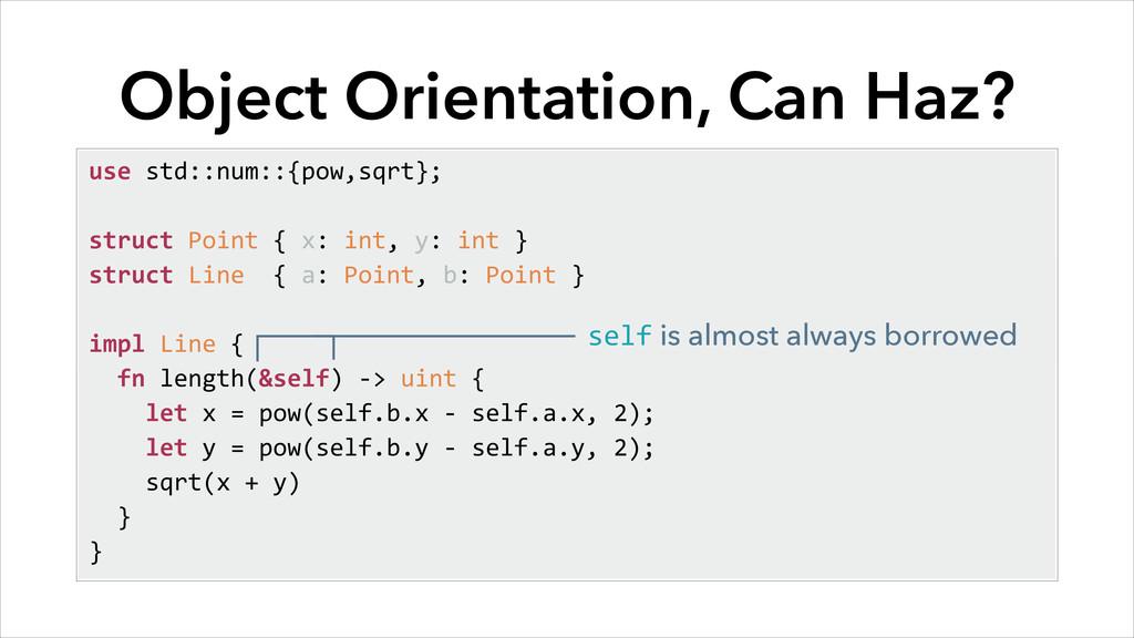 Object Orientation, Can Haz? use std::num::{...