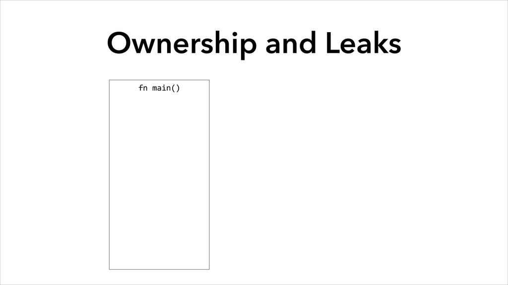 Ownership and Leaks fn main()