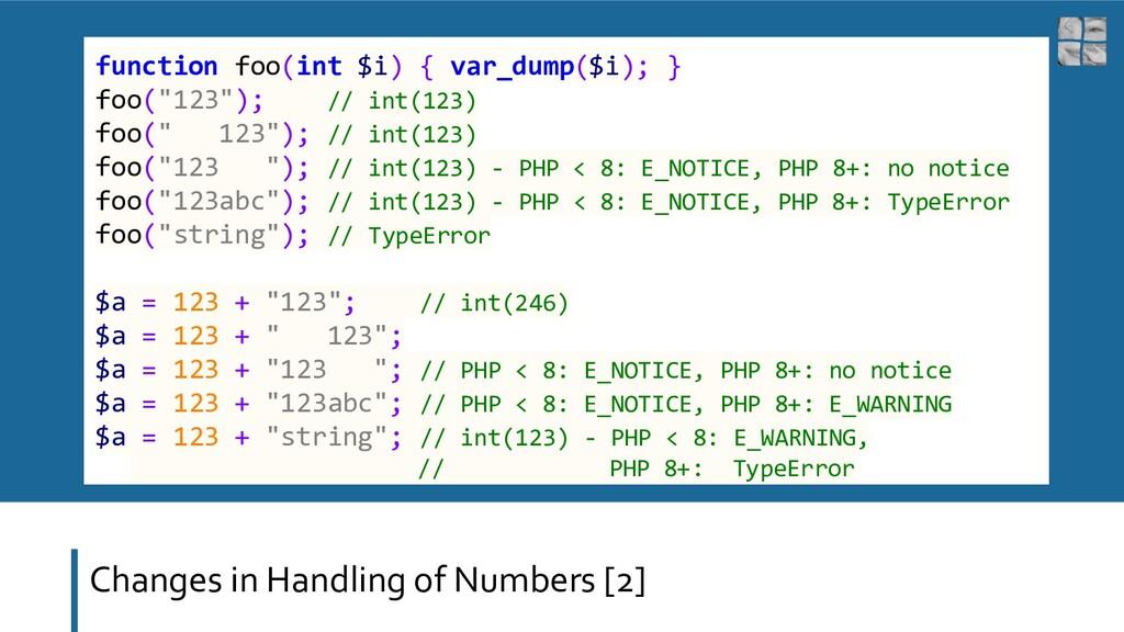 Changes in Handling of Numbers [2] function foo...