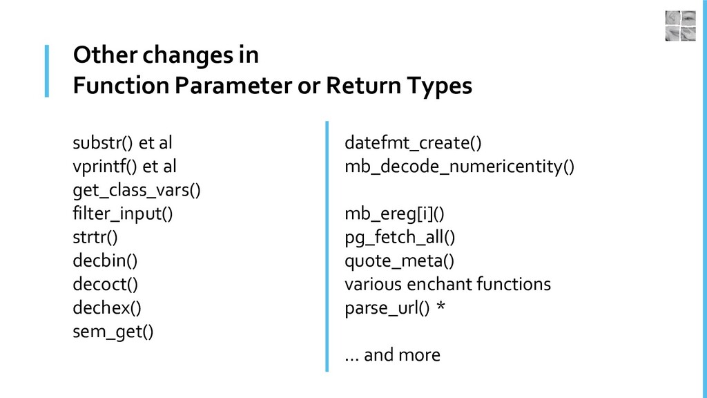 Other changes in Function Parameter or Return T...