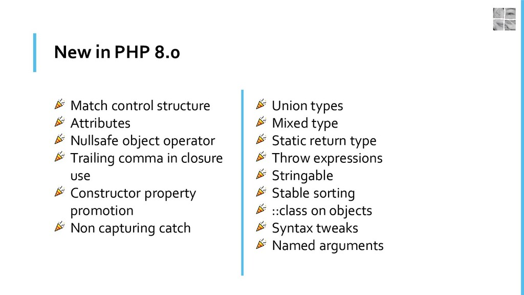 New in PHP 8.0 Match control structure Attribut...