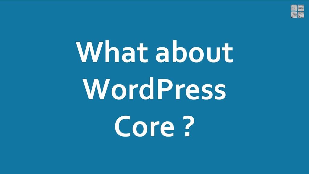 What about WordPress Core ?