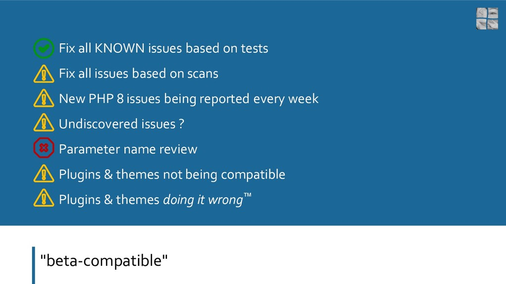 """""""beta-compatible"""" Fix all KNOWN issues based on..."""