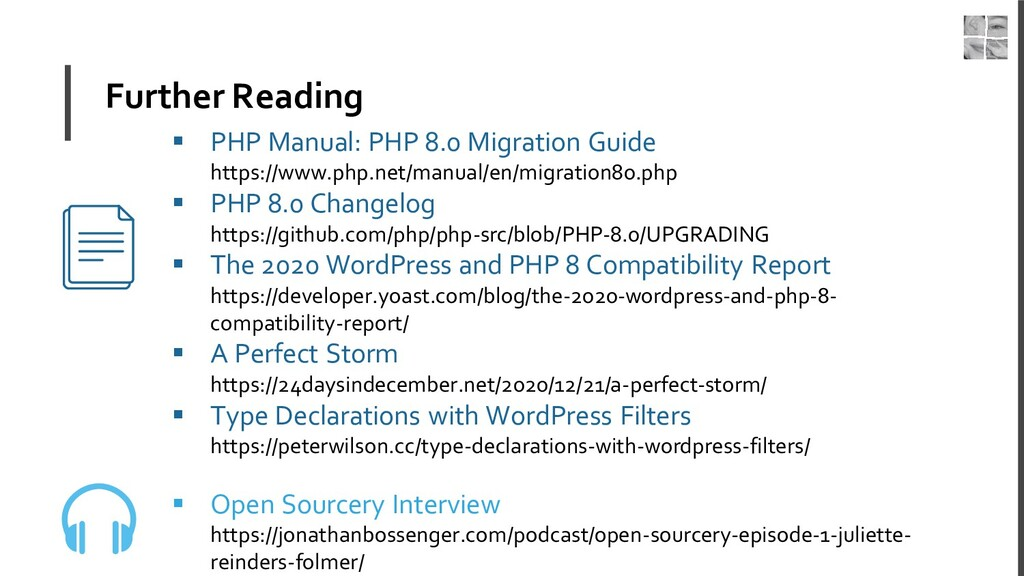Further Reading ▪ PHP Manual: PHP 8.0 Migration...