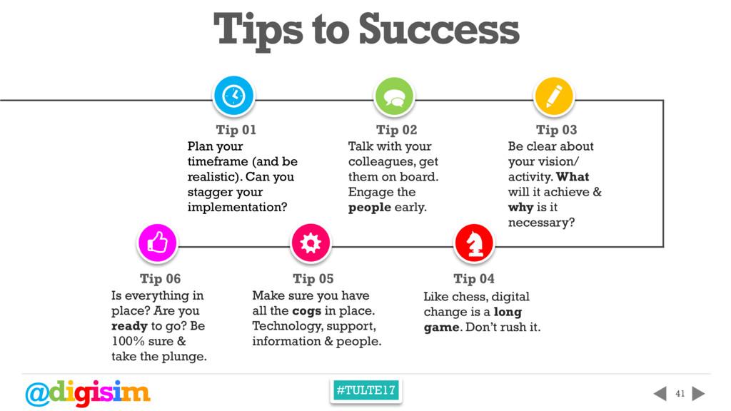 @digisim #TULTE17 41 [ Tips to Success [ > Plan...