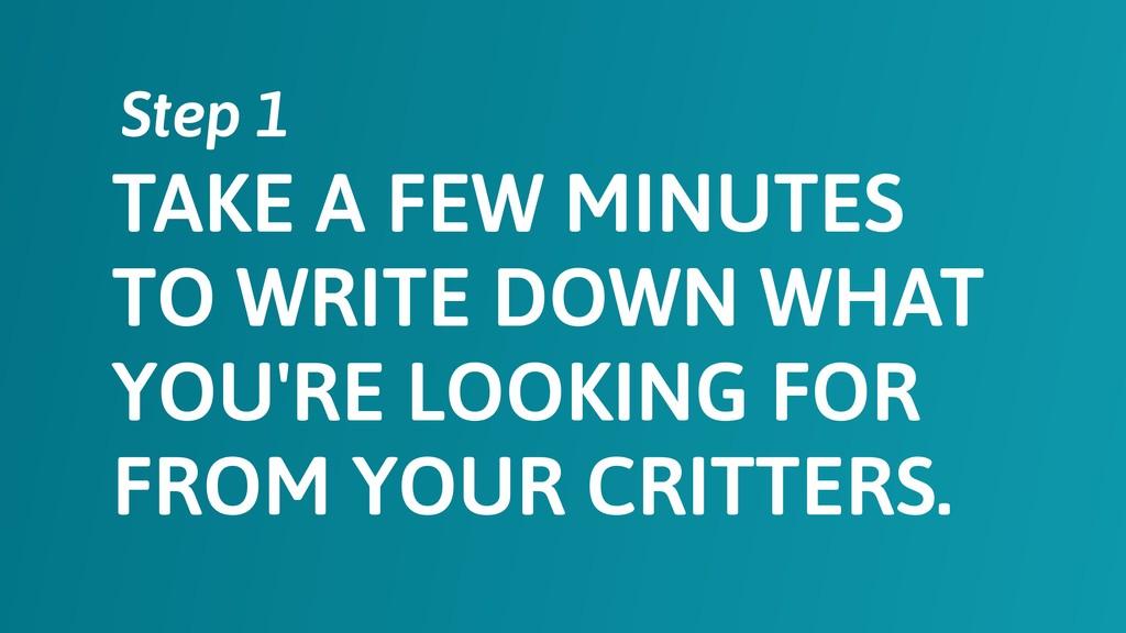 TAKE A FEW MINUTES TO WRITE DOWN WHAT YOU'RE LO...