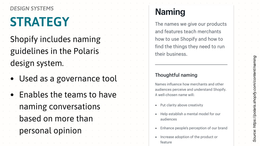 STRATEGY DESIGN SYSTEMS Shopify includes naming...