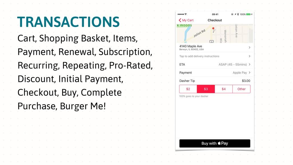 TRANSACTIONS Cart, Shopping Basket, Items, Paym...
