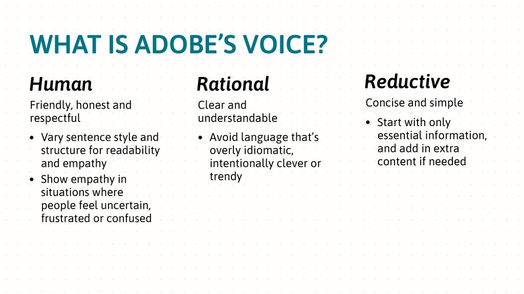 WHAT IS ADOBE'S VOICE? Human Friendly, honest a...