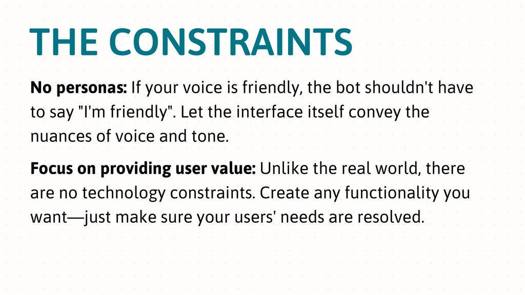 THE CONSTRAINTS No personas: If your voice is f...