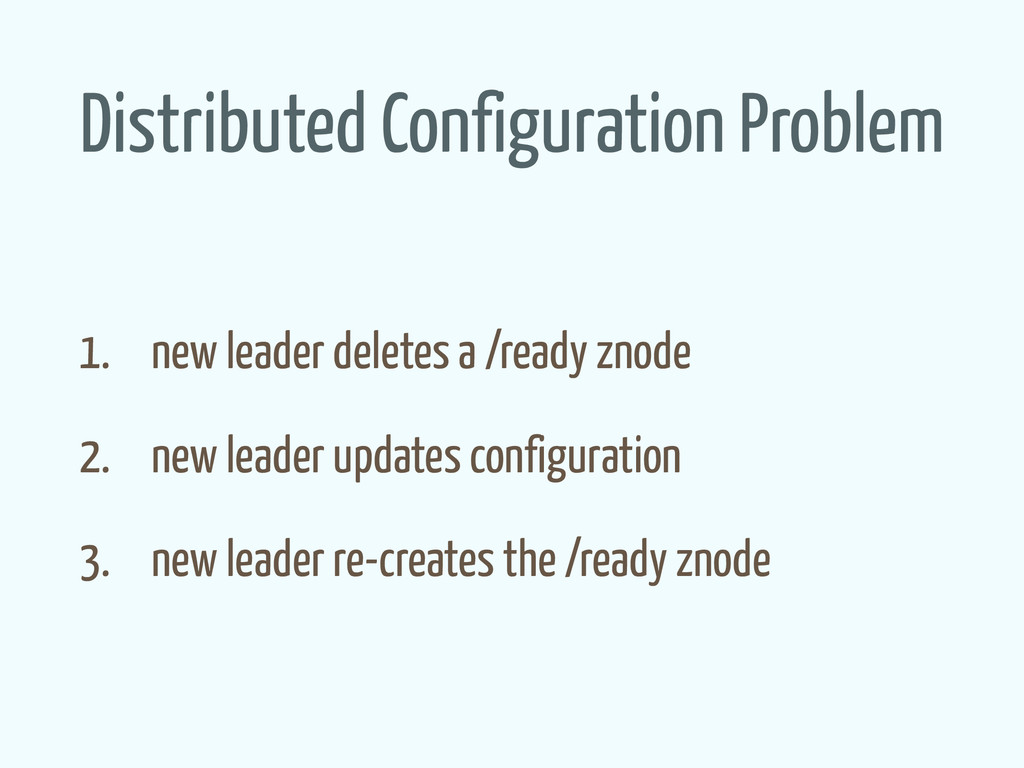 Distributed Configuration Problem 1. new leader...