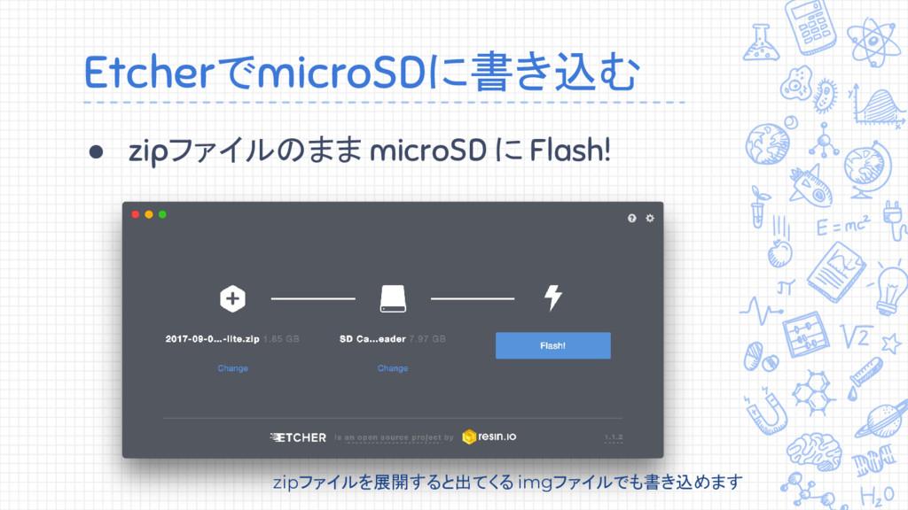 EtcherでmicroSDに書き込む ● zipファイルのまま microSD に Flas...
