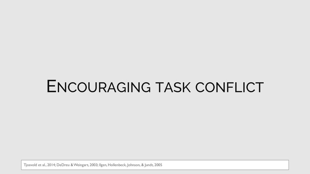 ENCOURAGING TASK CONFLICT Tjosvold et al., 2014...