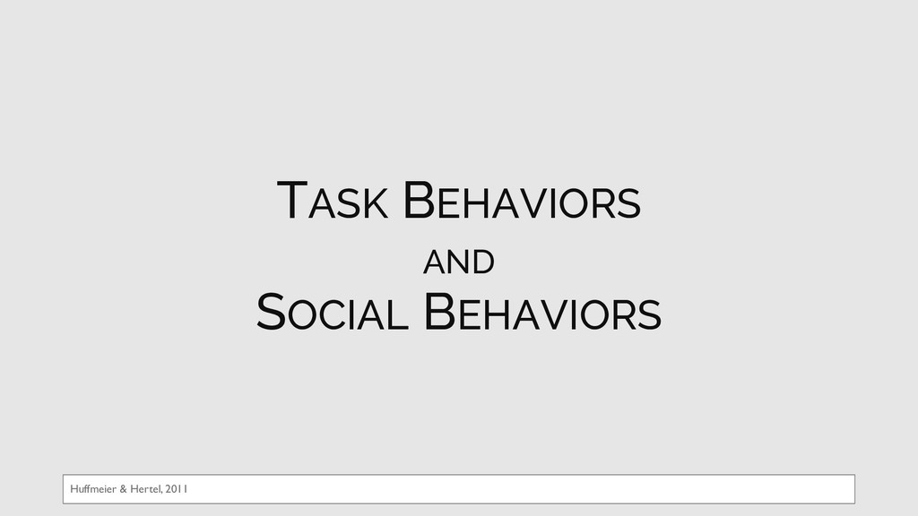 Huffmeier & Hertel, 2011 TASK BEHAVIORS AND SOC...