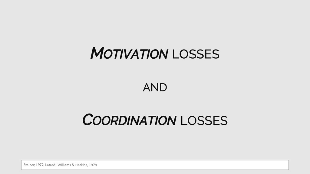 MOTIVATION LOSSES AND COORDINATION LOSSES Stein...