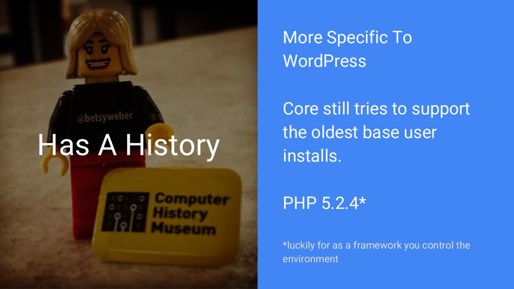 Has A History More Specific To WordPress Core s...