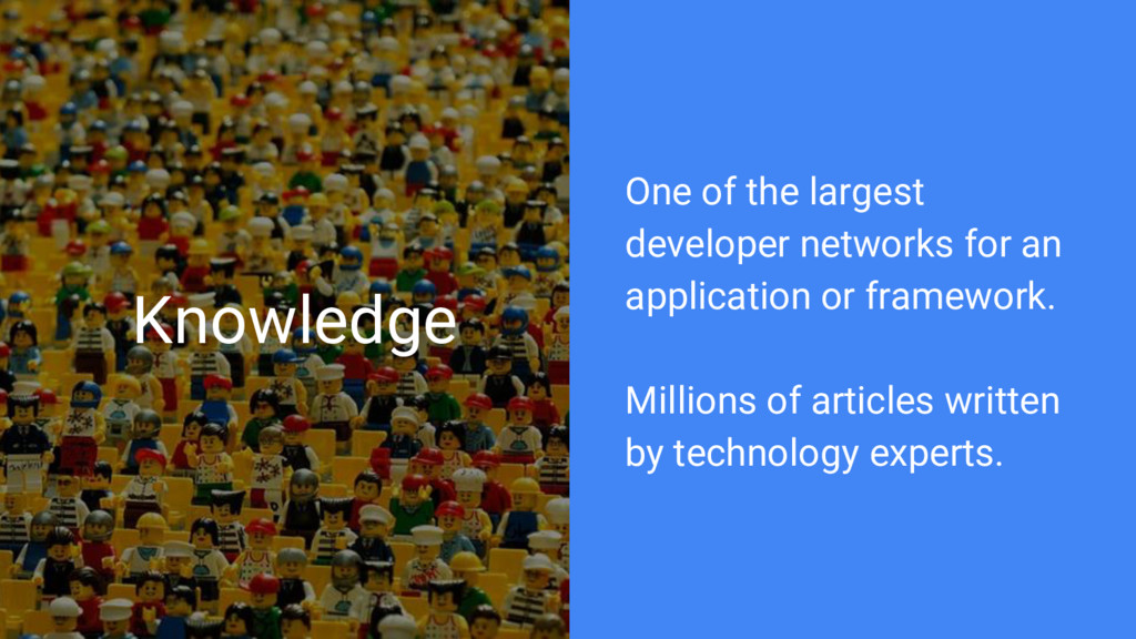 Knowledge One of the largest developer networks...