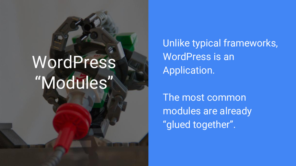 "WordPress ""Modules"" Unlike typical frameworks, ..."