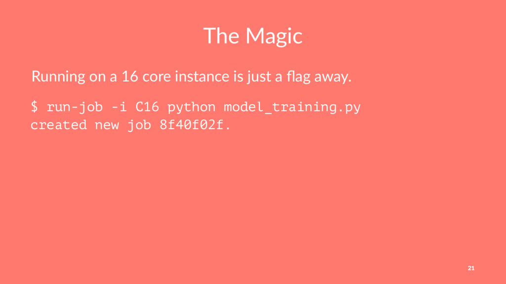 The Magic Running on a 16 core instance is just...