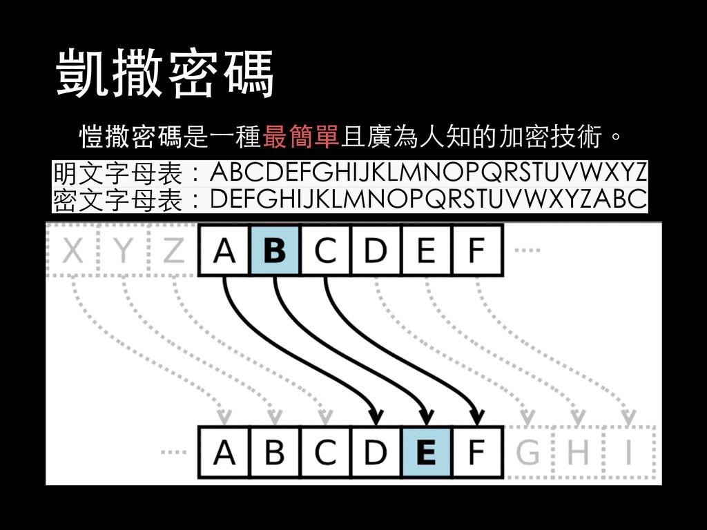 凱撒密碼 愷撒密碼是⼀一種最簡單且廣為⼈人知的加密技術。 明⽂文字⺟母表:ABCDEFGHIJ...