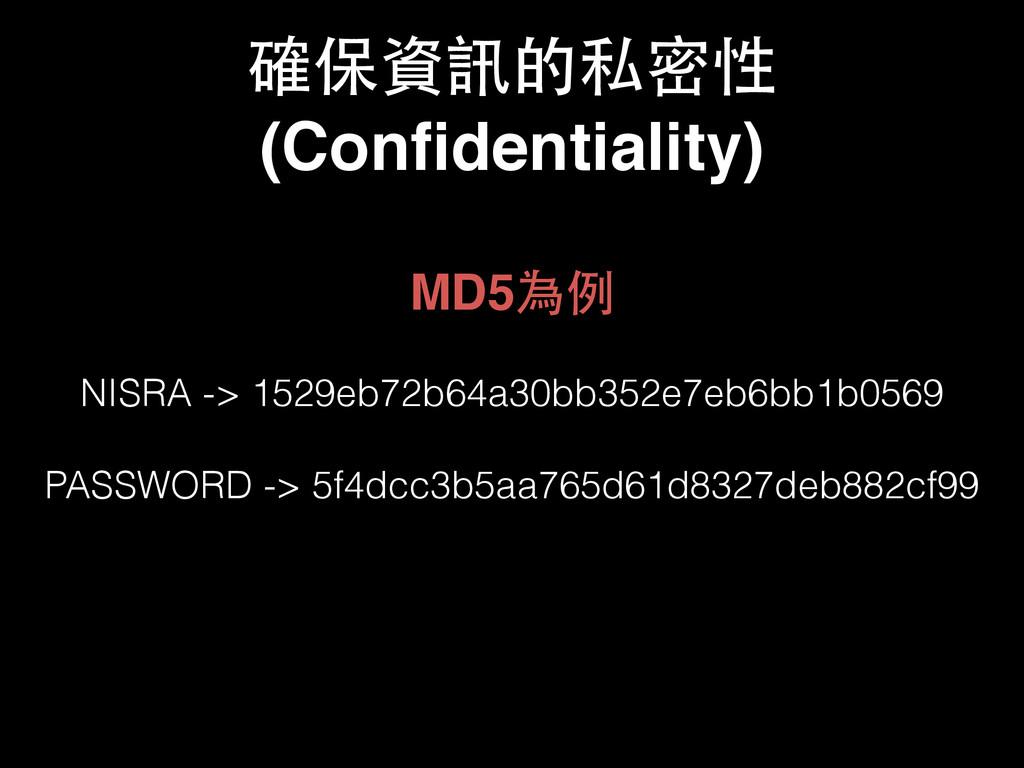 確保資訊的私密性 (Confidentiality) MD5為例! ! NISRA -> 152...