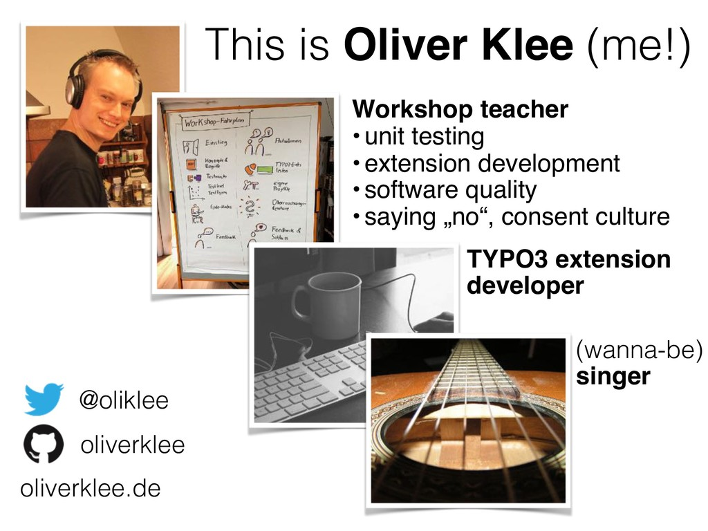 This is Oliver Klee (me!) Workshop teacher •uni...