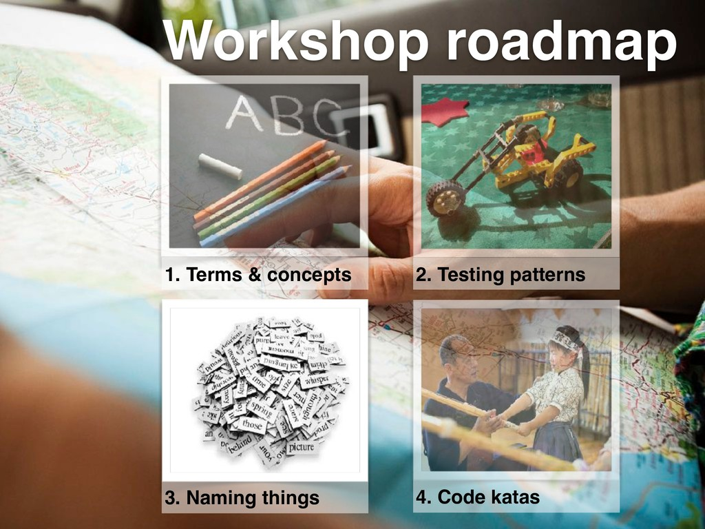 Workshop roadmap 1. Terms & concepts 2. Testing...