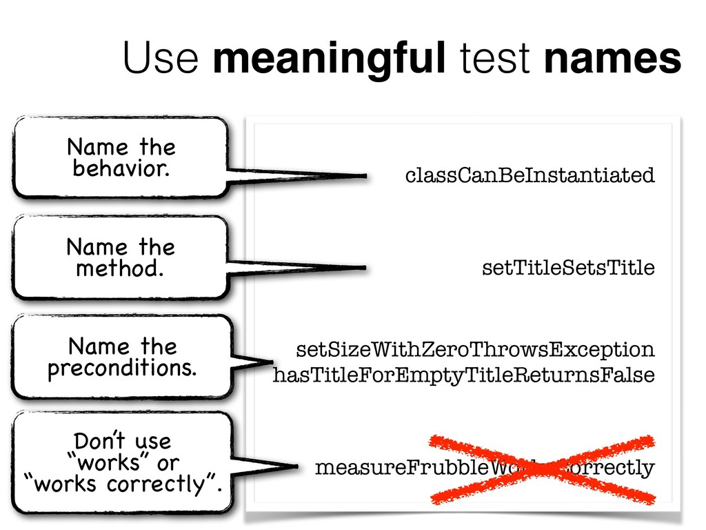 Use meaningful test names classCanBeInstantiate...