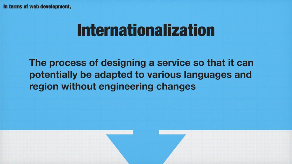 Internationalization The process of designing a...