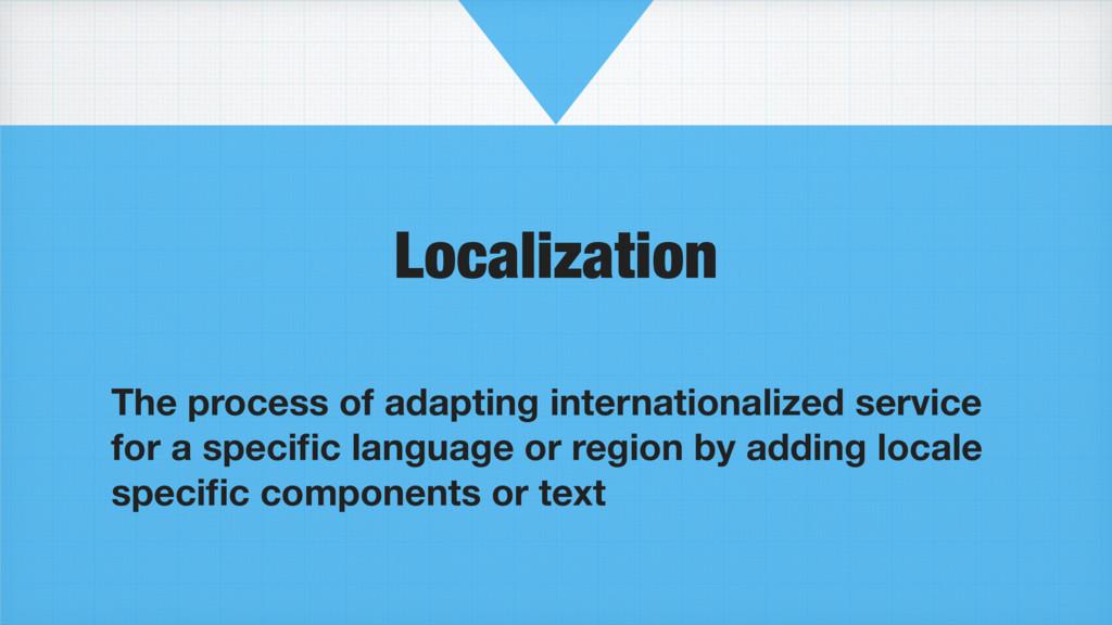 Localization The process of adapting internatio...