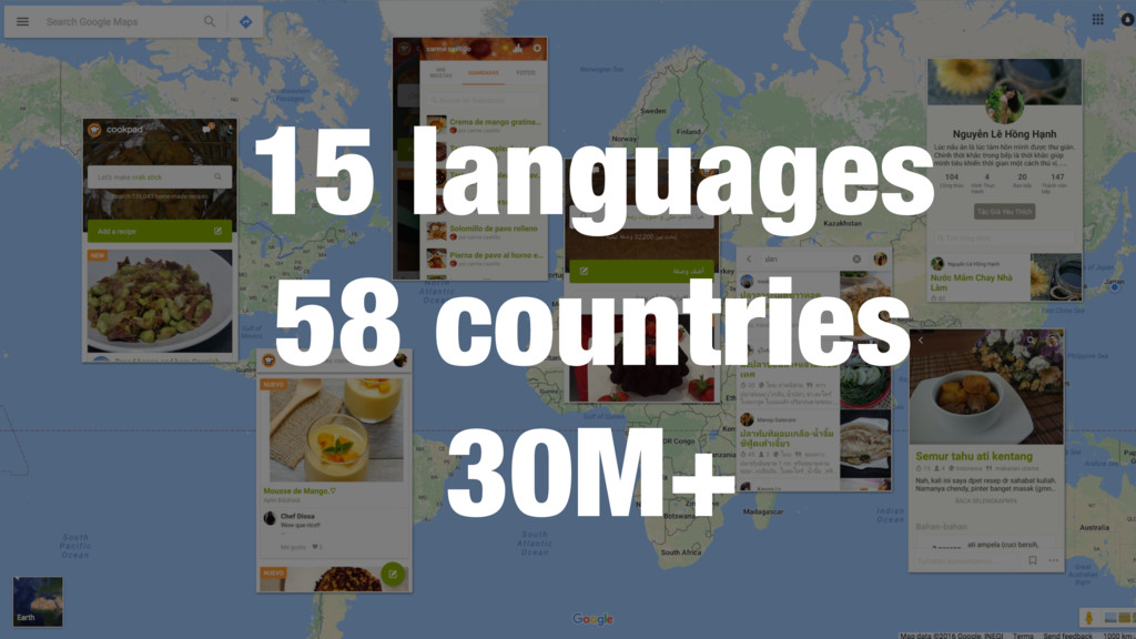 15 languages 58 countries 30M+