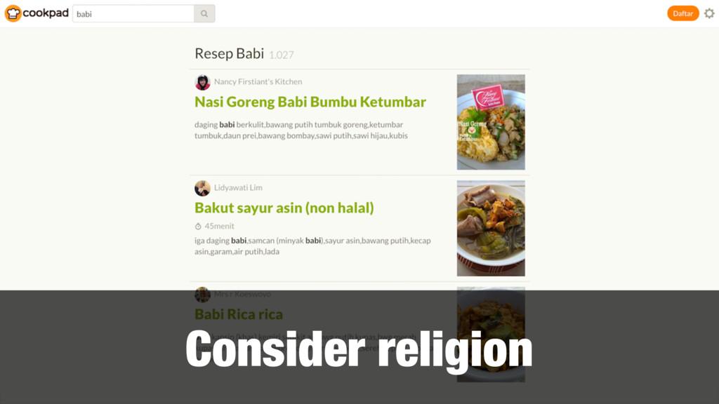 Consider religion
