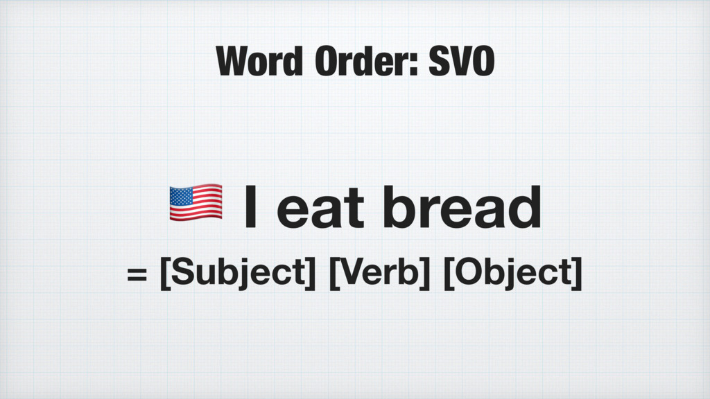 Word Order: SVO * I eat bread = [Subject] [Verb...