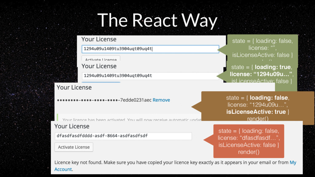 The React Way state = { loading: false, license...