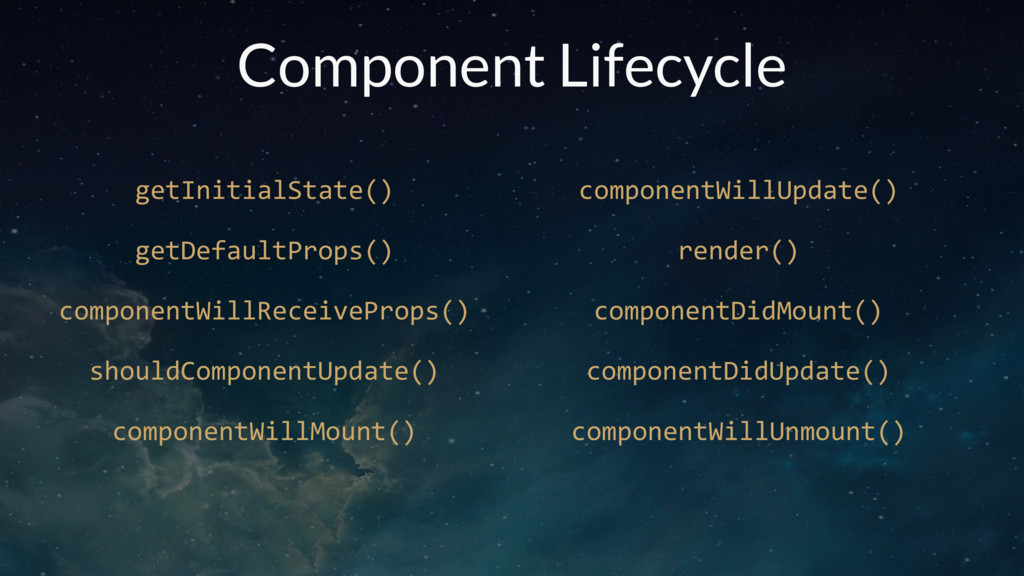 Component Lifecycle getInitialState() getDefaul...