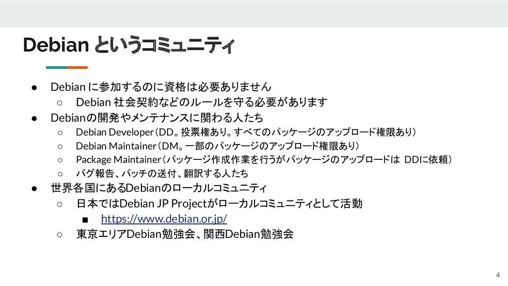 ● Debian に参加するのに資格は必要ありません ○ Debian 社会契約などのルールを...