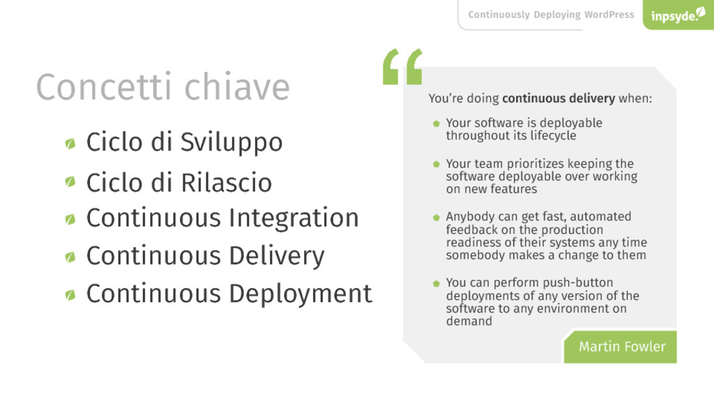 Continuously Deploying WordPress Concetti chiav...