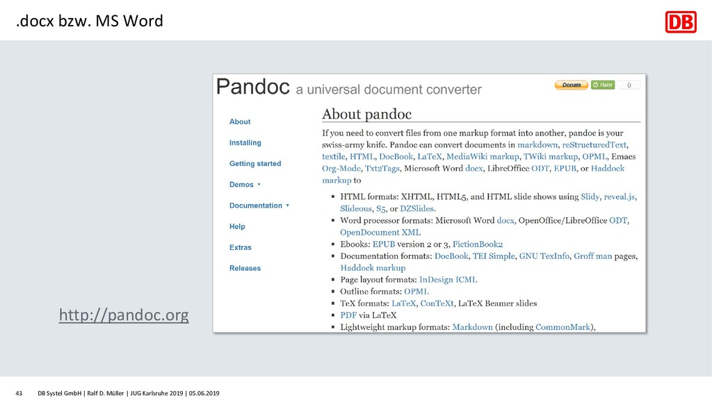 .docx bzw. MS Word http://pandoc.org DB Systel ...