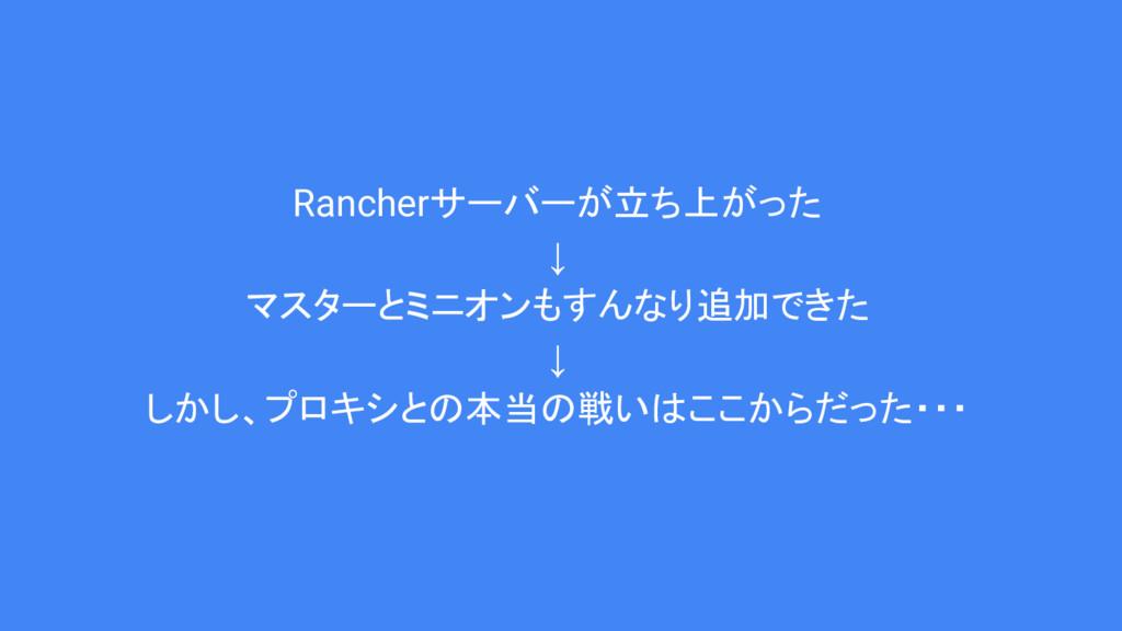 Rancherサーバーが立ち上がった ↓ マスターとミニオンもすんなり追加できた ↓ しかし、...