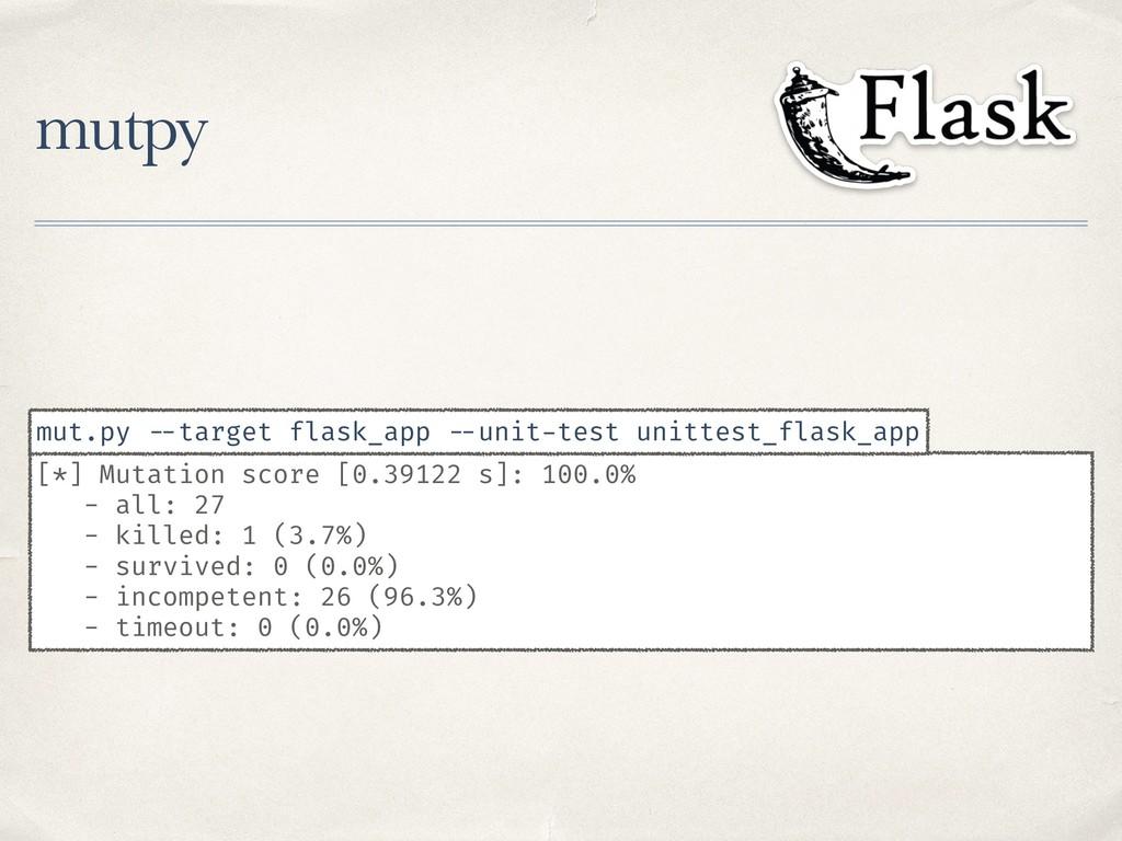 mutpy [*] Mutation score [0.39122 s]: 100.0% - ...