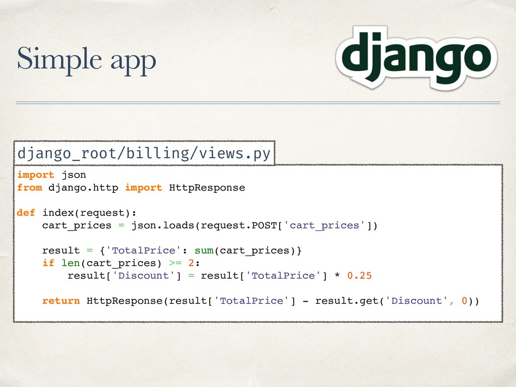 Simple app import json from django.http import ...